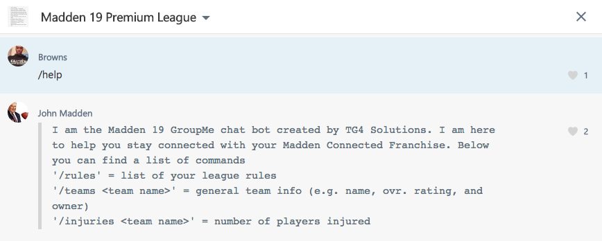 How to create a Madden NFL 19 GroupMe chatbot free - TG4